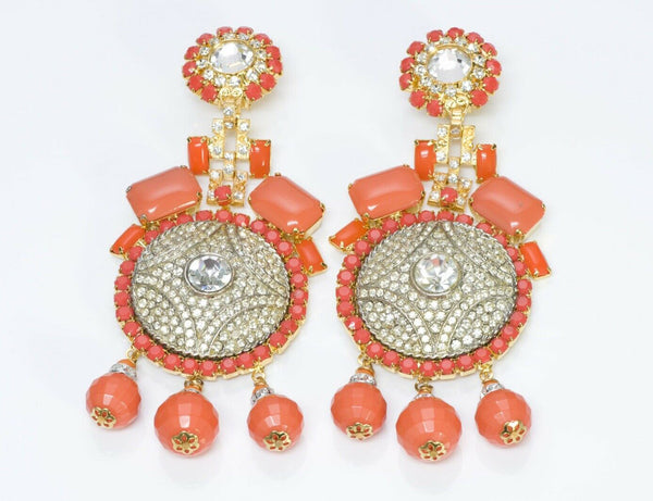 Lawrence VRBA Faux Orange Coral Crystal Long Tassel Earrings