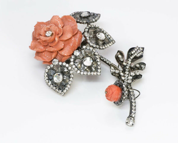Lawrence VRBA Large Faux Coral Crystal Flower Brooch