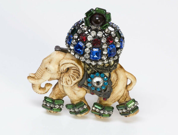 Lawrence VRBA Crystal Elephant Brooch