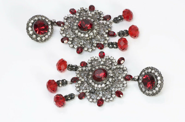 Lawrence VRBA Red Crystal Chandelier Flower Earrings 2