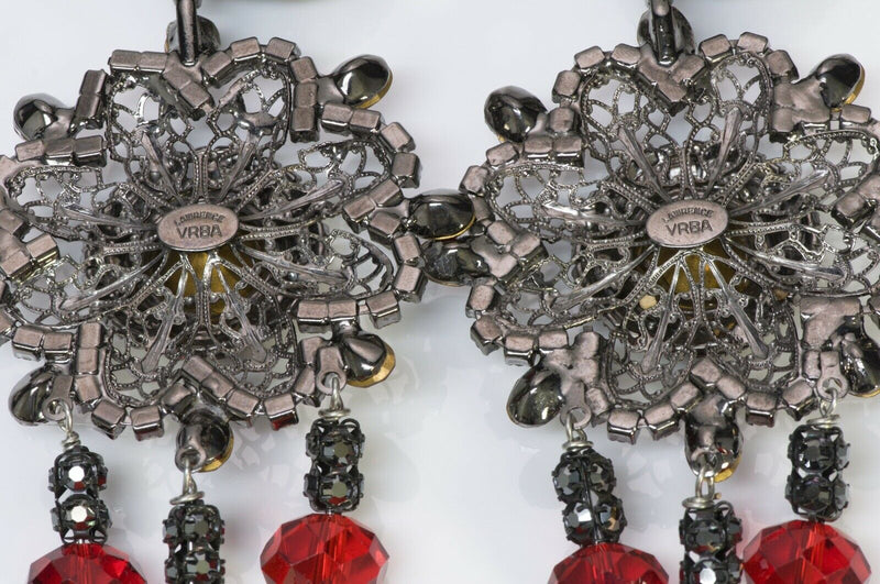Lawrence VRBA Red Crystal Chandelier Flower Earrings3