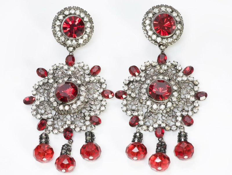Lawrence VRBA Red Crystal Chandelier Flower Earrings