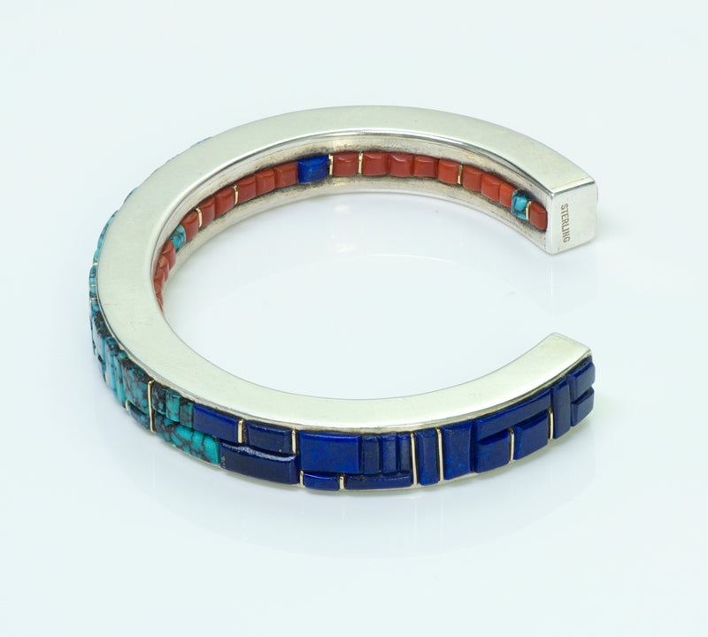 Lee Bennett Native American Coral Lapis Turquoise Bangle