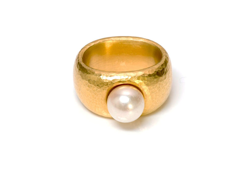 Linda Lee Johnson 22K Yellow Gold Pearl Ring 1