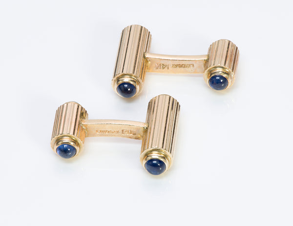 Lindsay & Co. Sapphire Gold Cufflinks Vintage