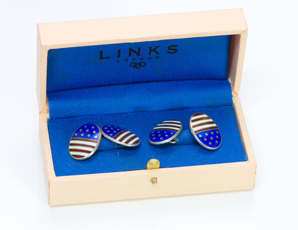Links of London American Flag Sterling Enamel Cufflinks