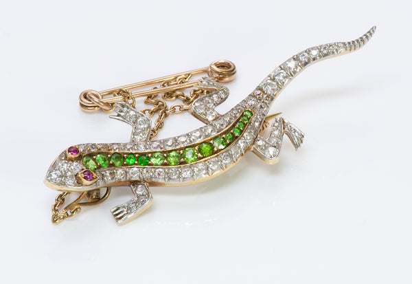 Antique Edwardian Diamond Demantoid Ruby Gold Lizard Brooch