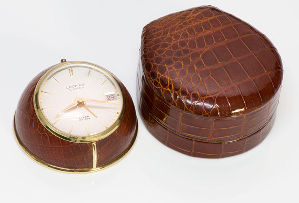 Looping Desk Clock Crocodile Case