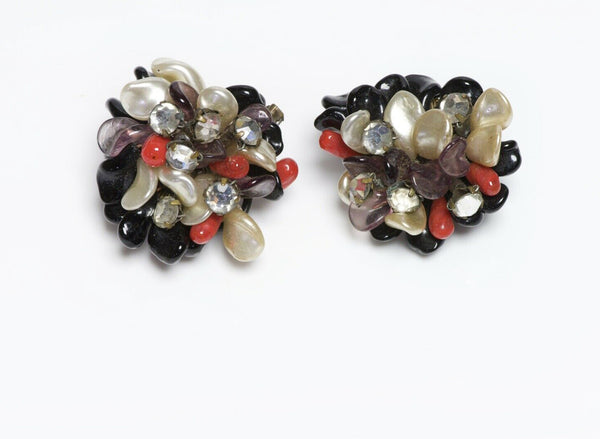 Louis Rousselet 1950's Pearl Crystal Black Red Purple Glass Flower Earrings