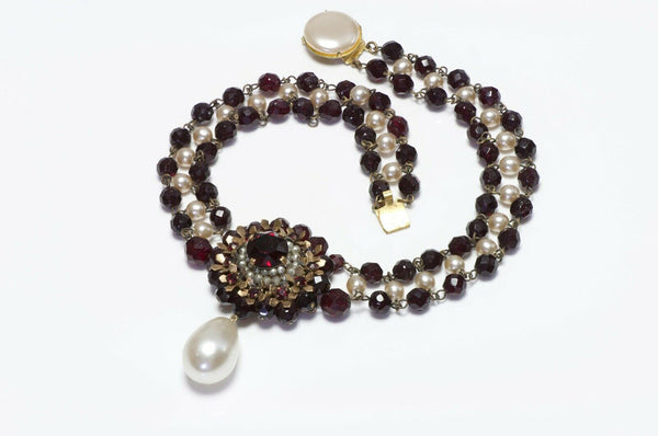 Louis Rousselet Paris 1950's Red Glass Beads Pearl Necklace
