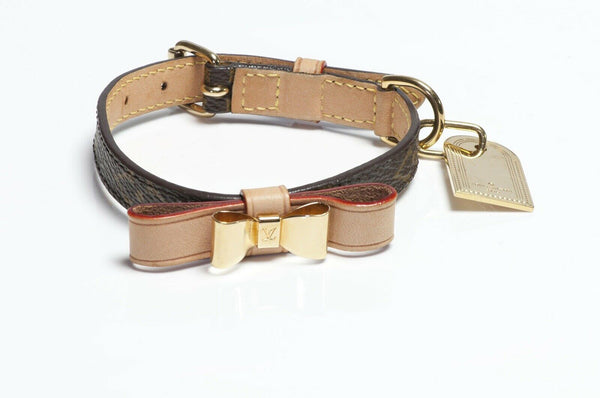Louis Vuitton Baxter Brown Monogram Bow Dog Collar