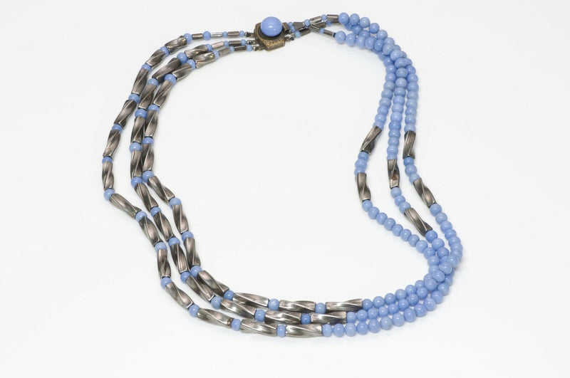 Louis Rousselet 1950 Blue Glass Beads Necklace