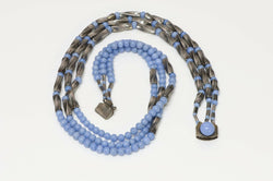 Louis Rousselet 1950's Blue Glass Beads Necklace