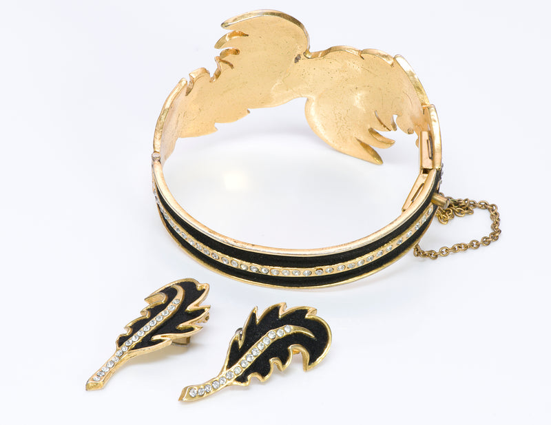 Henry a la Pensee Suede Crystal Leaf Bracelet Earrings Set