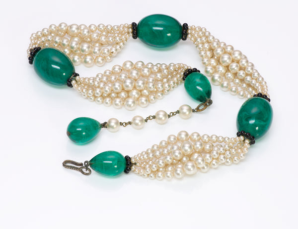 Louis Rousselet Paris 1950 Green Glass Pearl Necklace