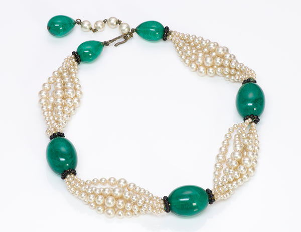 Louis Rousselet Paris 1950's Green Glass Pearl Necklace