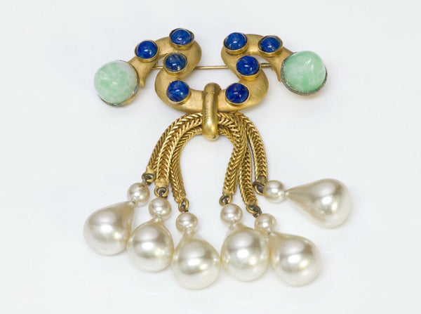 Vintage 1950's Louis Rousselet Paris Green Blue Glass Pearl Brooch
