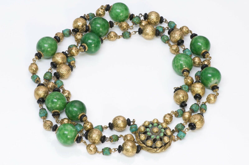 Louis Rousselet Paris 1950 Green Glass Beads Necklace