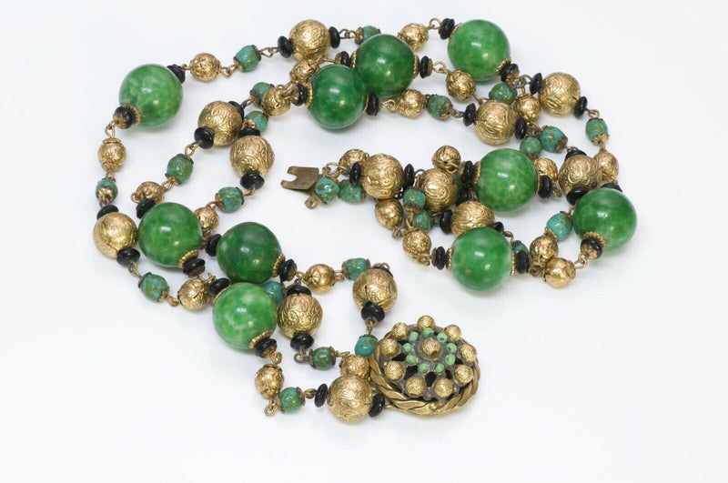 Louis Rousselet Paris Green Glass Beads Necklace