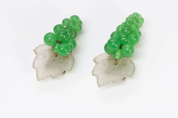Louis Rousselet Green Glass Beads Grape Leaf Double Clips Brooch