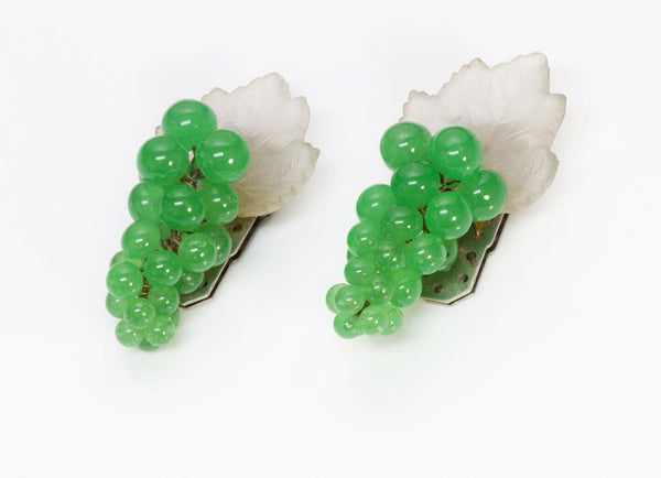 Louis Rousselet 1940's Green Glass Beads Grape Leaf Double Clips Brooch