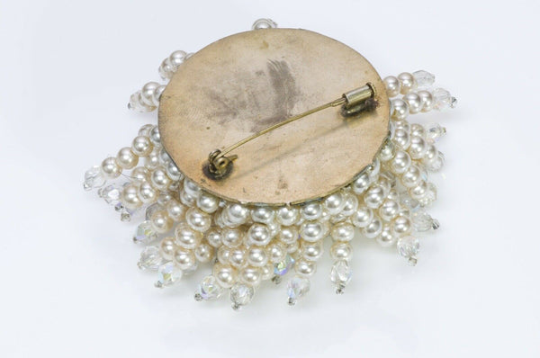 Louis Rousselet Paris  Pearls Crystal Brooch