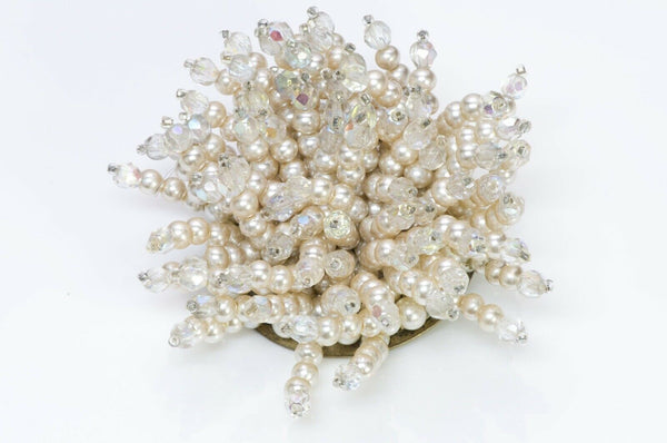 Louis Rousselet Paris 1940's Pearls Crystal Brooch