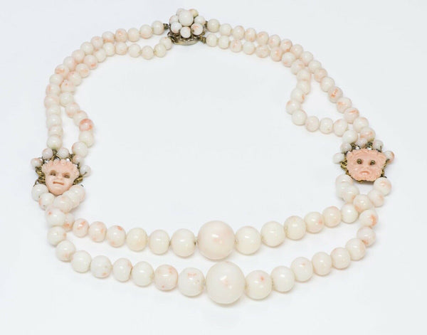 Louis Rousselet 1950's Faux Coral Beads Masks Strand Necklace