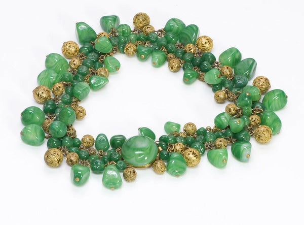 Louis Rousselet Paris 1950's Green Glass Brass Filigree Collar Necklace