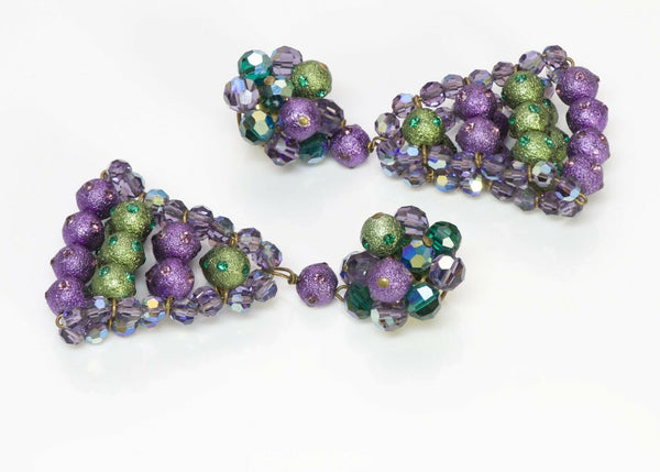 Louis Rousselet Paris Purple Green Beads Drop Earrings