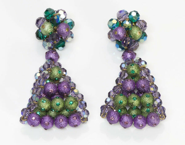 Louis Rousselet Paris Long Purple Green Beads Drop Earrings
