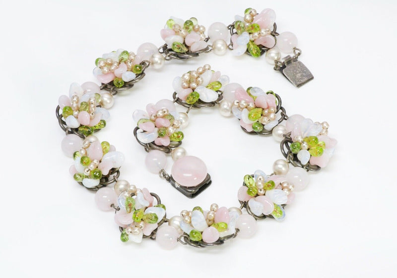 Louis Rousselet Flower Glass Beads Necklace