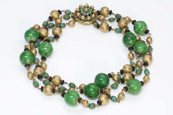 Louis Rousselet Paris 1950's Green Glass Beads Necklace