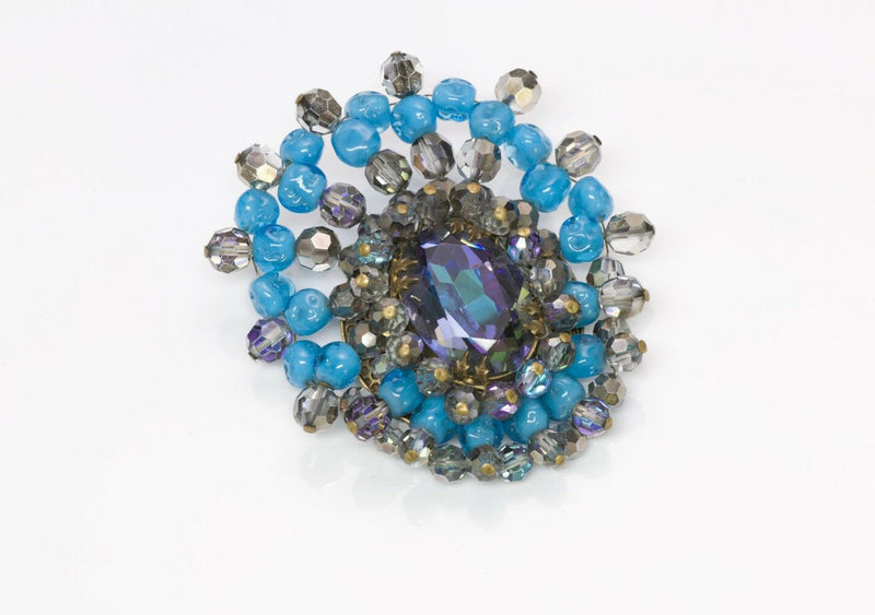 France Louis Rousselet 1940 Turquoise Glass Brooch