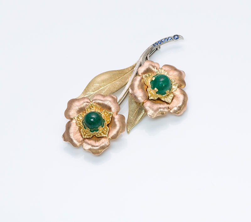 Mario Buccellati Emerald Gold Flower Brooch