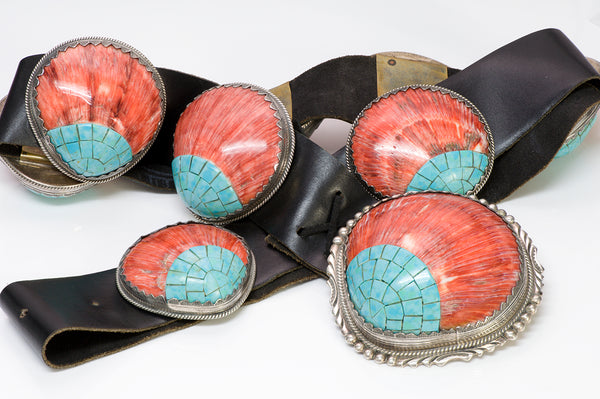 M. Begay Native American Navajo Spiney Oyster Concho Belt