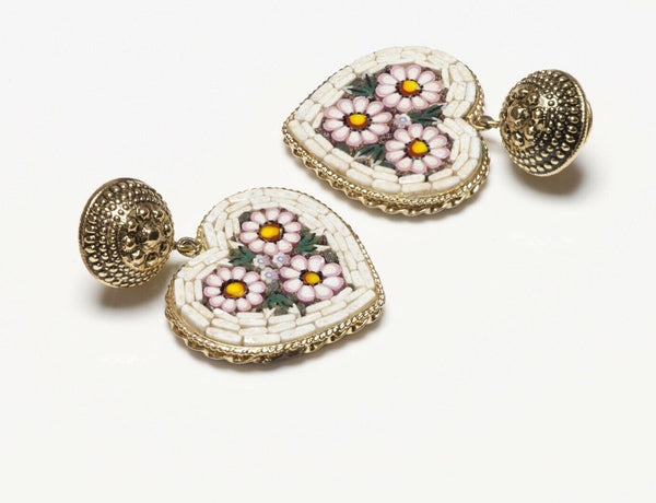 MOSCHINO Long Mosaic Flower Heart Earrings