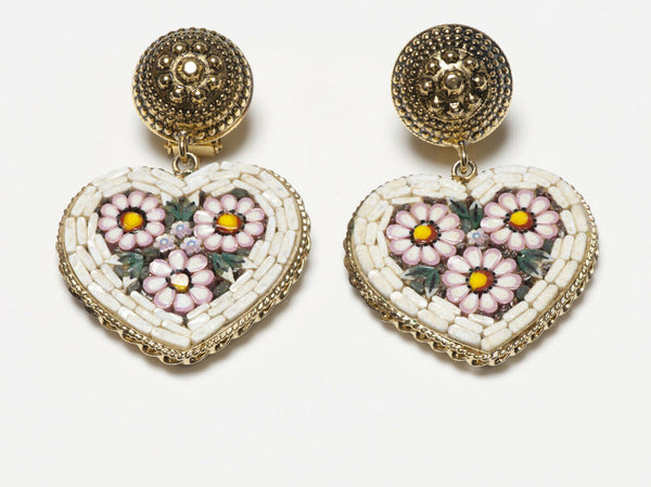 MOSCHINO Long Gold Plated Mosaic Flower Heart Earrings