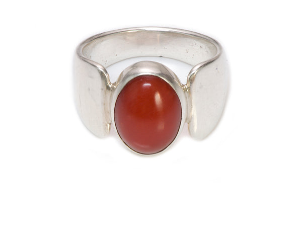 Michael Rogers Silver Coral Ring