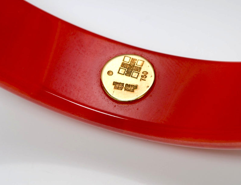 Mark Davis Red Bakelite Diamond Bangle Bracelet 3