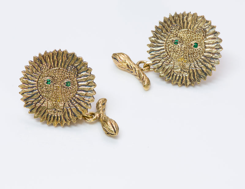 Henri Maik Gold Emerald Lion Cufflinks