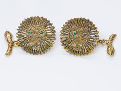 Henri Maik 18K Gold Emerald Lion Cufflinks