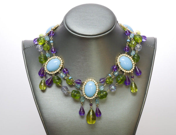 Maison Gripoix Faux Turquoise Poured Glass Necklace
