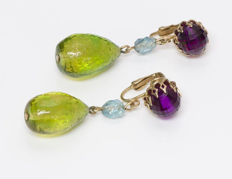Maison Gripoix Faux Turquoise Poured Glass Earrings