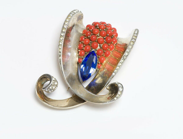 Marcel Boucher Silver Crystal Faux Coral Clip Brooch