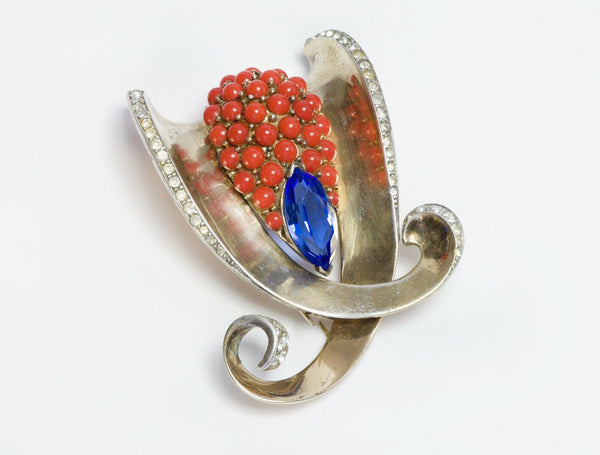 Marcel Boucher 1946 Sterling Silver Blue Crystal Faux Coral Clip Brooch