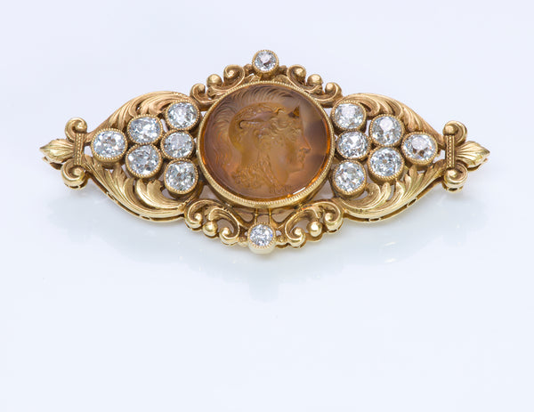 Marcus Co. Antique Gold Diamond Citrine Cameo Brooch