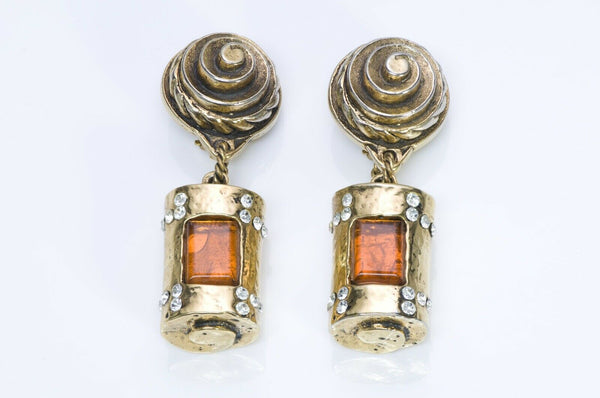 Marie Paris 1980's Maison Gripoix Glass Drop Earrings