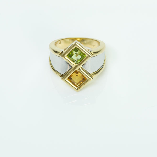 Marina B Gold Peridot Citrine Ring