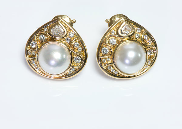 Marina B. France 18K Gold Pearl & Diamond Earrings